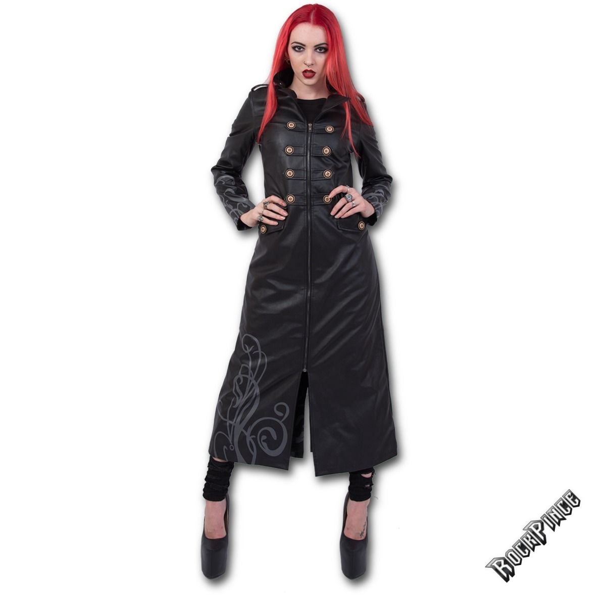 JUST TRIBAL - Gothic Trench Coat PU-Leather Corset Back (Plain) - T139G406