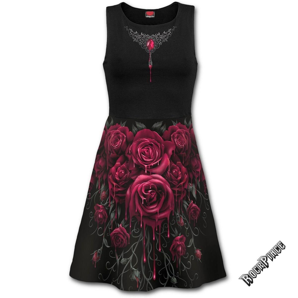 BLOOD ROSE AO - Mesh Layered Midi Skater Dress - S015F130