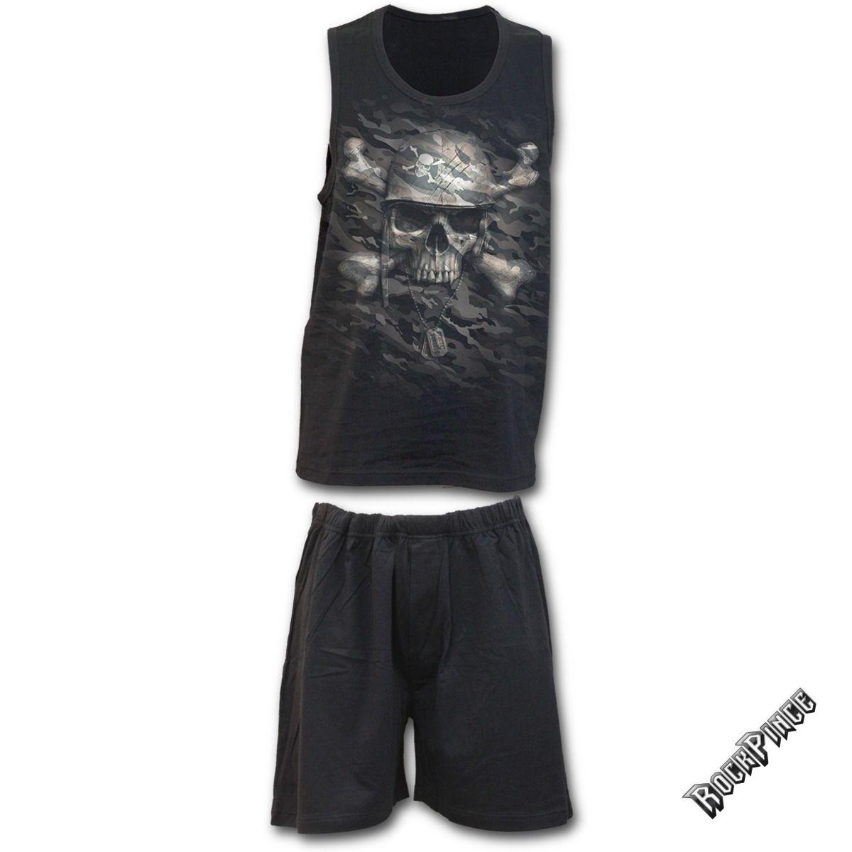 CAMO-SKULL - 4pc Mens Gothic Pyjama Set (Plain) - T141M631