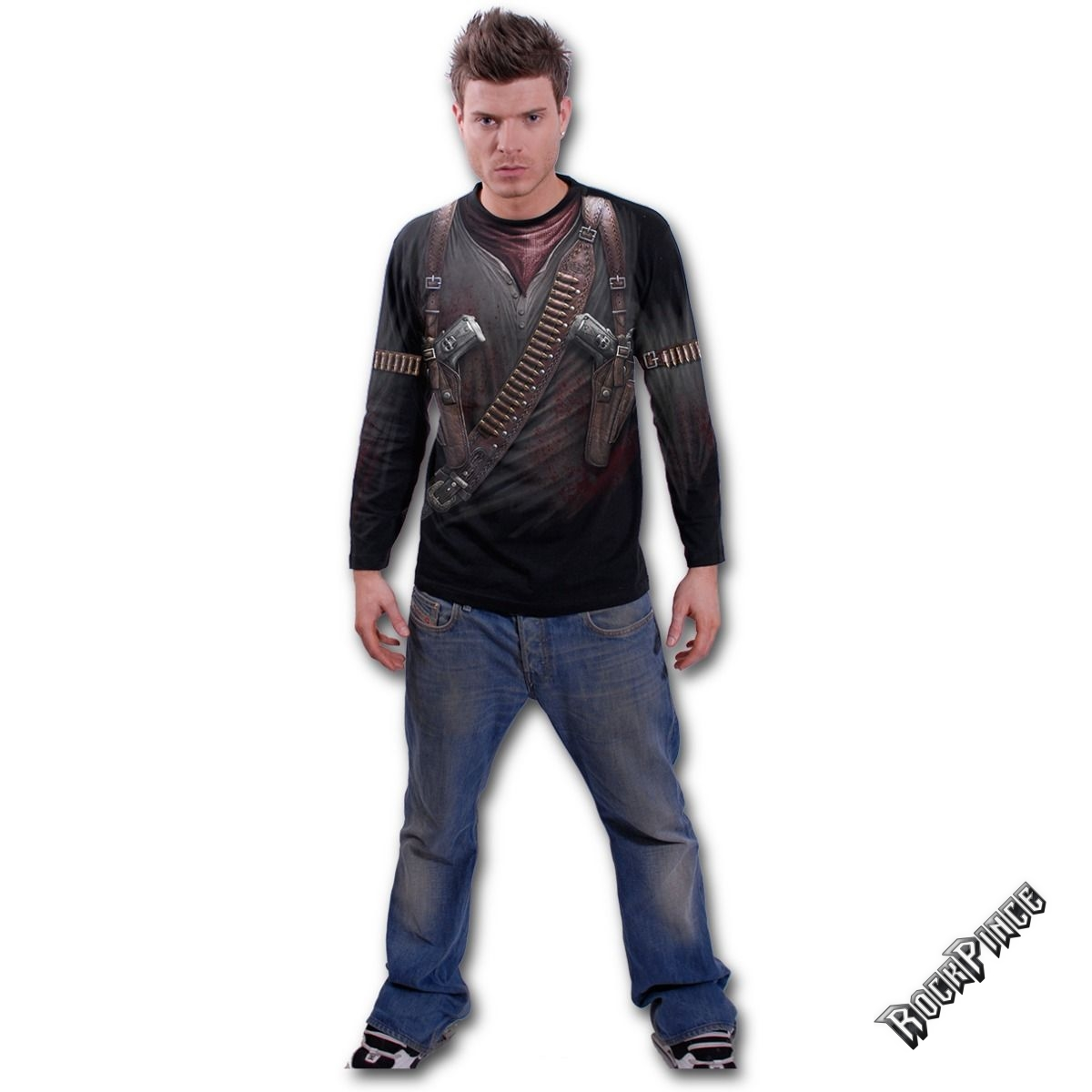 HOLSTER WRAP - Allover Longsleeve T-Shirt Black - W022M304