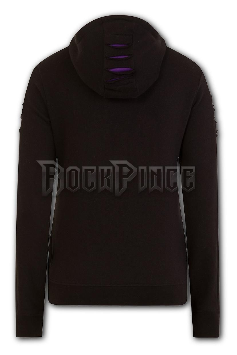 BRIGHT EYES - Large Hood Ripped Hoody Purple-Black (Plain) - F011F274