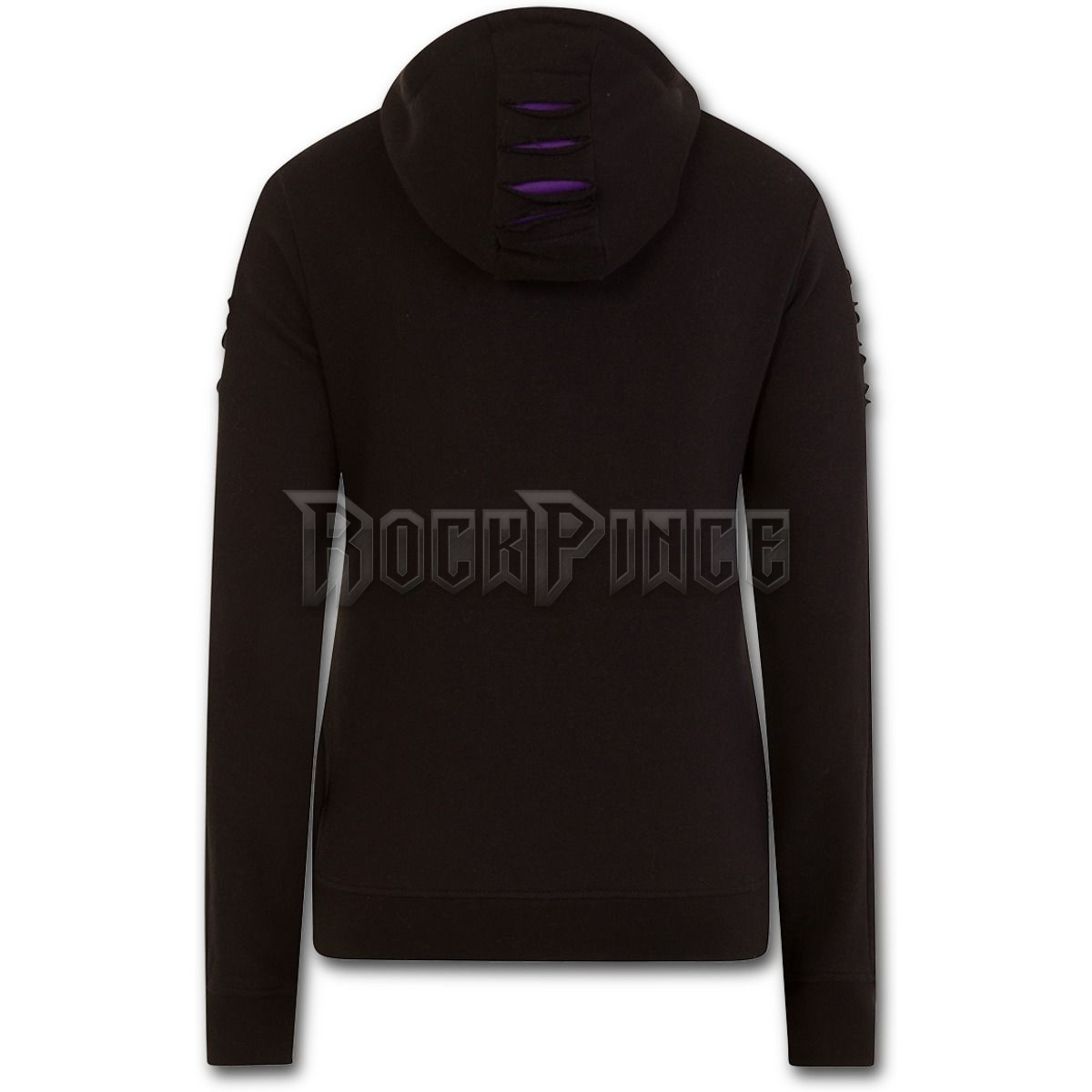 GOTHIC ROCK - Large Hood Ripped Hoody Purple-Black - P002F274