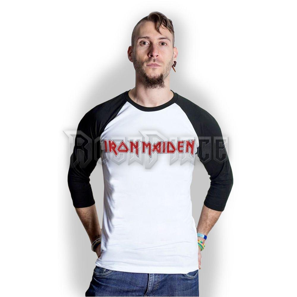 Iron Maiden Men's Raglán Ujjú Póló: Logo - IMRL03MW