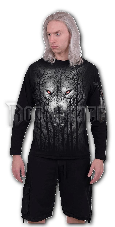 FOREST WOLF - Longsleeve T-Shirt Black (Plain) - E030M301