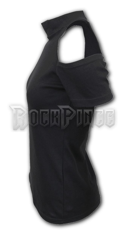 GOTHIC ELEGANCE - Halter Neck Drop Shoulder Top - P001F764