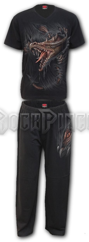 BREAKING OUT - 4pc Mens Gothic Pyjama Set (Plain) - T171M631